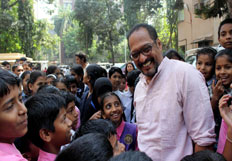 Nana Patekar interacts with School children