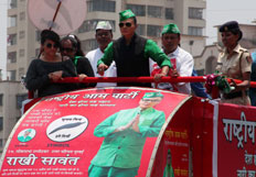 Rakhi Sawant campaigns in her constituency