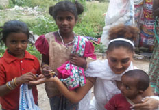 Ramya Sri Distribute Clothes & Food to Poor people On the Occasion of Gandhi Jayanthi