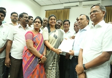 Actress Roja Meets Southern Railway General Manager
