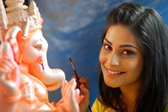 Puja Gupta visit Ganesh idol workshop Stills
