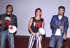 Star cast of film Gunday visit Gaiety Galaxy theatre