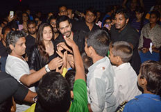 Varun Dhawan and Alia Bhatt interact with their fans at theaters