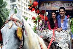 Baggi ride to promote film Issaq - Stills