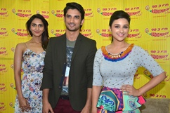 Cast of Shuddh Desi Romance on Radio Mirchi