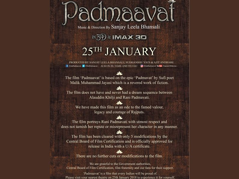 'Padmaavat' makers state disclaimers loud and clear via ad
